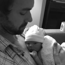 dad and baby b:w